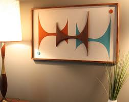 Mid Century Modern Witco Abstract Wall Art Sculpture Painting Atomic Retro  Eames Era Love - The