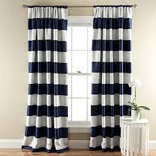 Lush Dcor Stripe Room Darkening Window Curtain Panel, 84 inch by 52 inch,  Navy, Set of 2