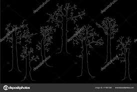 Fancy Vector Trees On Black Background Stock Vector Nasstep