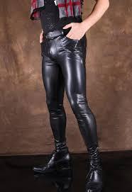 male high elastic motorcycle faux leather pants men tight trousers pu skinny pencil pants for men pantalon homme black fashion clothing