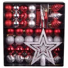 Weihnachts Baumschmuck Rotsilber 50 Teilig