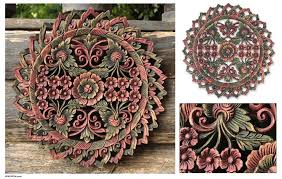 image of thai carved wood wall panels