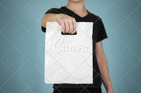 Plastic Packet Design Man Shows Blank Plastic Bag Mock Up Isolated Empty White