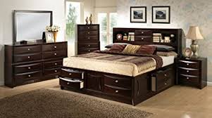 Roundhill Furniture Ankara Wood Bedroom Set, Includes King Bed, Dresser  Mirror With 2 Nightstands