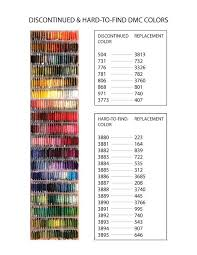Dmc Color Chart 2017 Discontinued Dmc Colors Their Replacements Chart Cross