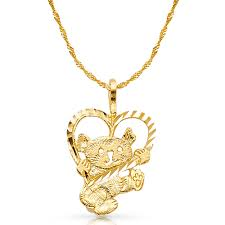 ioka 14k yellow gold baby bear with heart charm pendant with 1 8mm singapore chain necklace com