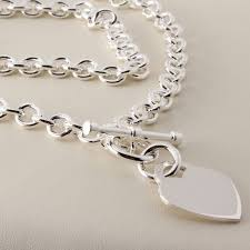 heart tag t bar toggle fastening silver necklace