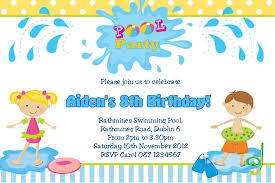 Personalised Birthday Invitations For Kids Personalised Pool Party Boy Invitations