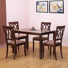 home by nilkamal peak four seater dining table set (cappucino