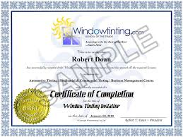 Certificate Of Completion From The Window Tinting Training