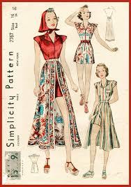 Vintage Sewing Patterns Custom 48s Beachwear Playsuit Skirt Vintage Sewing Pattern 48 Lady