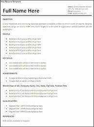 Resume Examples Word Job Resume Template Free Words Templates