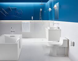 13 Inspirational Examples Of Blue And White Bathrooms // This all white  bathroom is interrupted