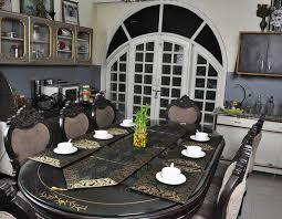 Designer Dining Table Mats Kitchan Dining Table Decor Designer Silk Black Table Runner