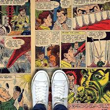 innovative custom printed vinyl floor covering as a comic book for office commercial and home