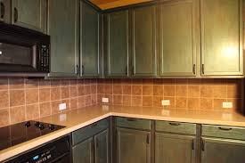 kitchen green wooden kitchen cabinet with brown tile wall plus brown counter top fabulous
