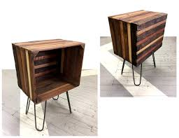 rustic wood crate end table night stand