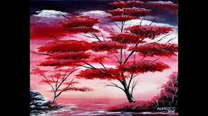 the red tree easy painting step by step how to acrylic canvas bright colours