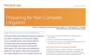 Preparing For Non Compete Litigation New Edition Trade