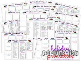 Sample Travel Packing List Holiday Vacation Packing Lists Free Printables