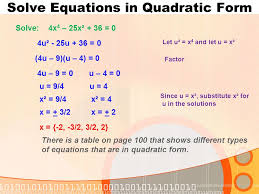 6 solve equations in quadratic