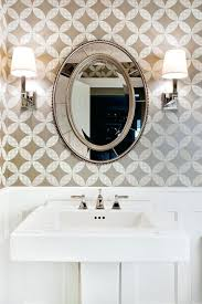 Powder Bath Lighting Modern Wall Mirrors Room Traditional With White Trim