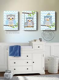 owl canvas nursery art baby blue owl