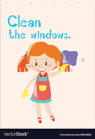 Verb Action Action Verb Flashcard With Girl Cleaning Windows