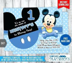 Make Your Own Mickey Mouse Invitations Baby Mickey Birthday Invitations Birthday Invitation Card Format In
