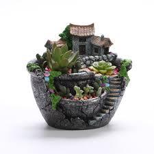 Succulent Pot Design Us 14 97 39 Off Winomo Artificial Flowers Succulent Plants Pot Tiny Creative Flower Pot Holders Hanging Garden Design With Sweet House In Flower