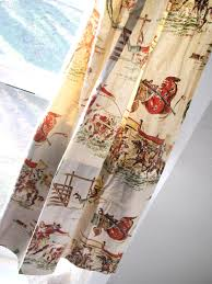 Western Living Room Curtains Vintage Cowboys Indians Horses Western Fabric Cotton 84 Long
