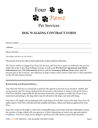 Pet Sitter Information Form Pet Sitter Independent Contractor Agreement Good Dog Walking