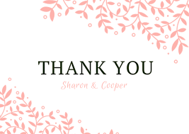 Pink Floral Wedding Thank You Card Free Template Wedding