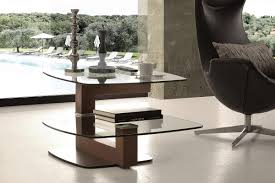 art 844 tolomeo modern coffee table in glass and walnut with swivel top