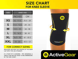 Knee Sleeve Size Chart Activegear Knee Brace Support Heavy Duty Neoprene Sport Compression Sleeve