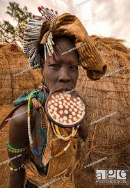 mursi woman with lip plate in the lower
