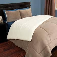 lavish home 3 piece taupe sherpa fleece full queen comforter set