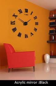 modern diy large 3d wall clock sticker metal watches roman numeral home decor