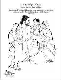 Jesus And The Little Children Coloring Page Audio Bible Jesus With