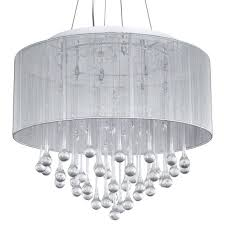 loose chandelier crystal white fabric shade modern drum pendant light chrome finish with lights max antique wood crystals engageri large image for iron