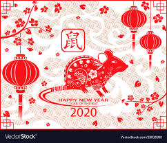 Happy Chinese New Year 2020 Card With Rat Chinese