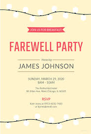 farewell breakfast invitation template