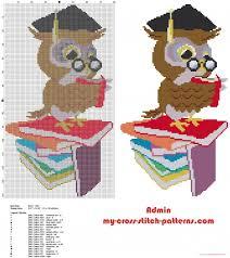 Graduation Owl With Books Cross Stitch Pattern Idea Free