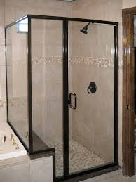 crystalline semi frameless oil rubbed bronze shower enclosure with 90 degree post