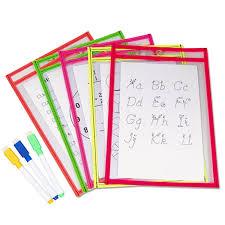 Reusable Flip Chart Paper Us 9 04 30 Off 10pcs Reusable Clear Pvc Dry Erase Pockets Sleeves 3pcs Pens For Office Classroom Organization Teaching Supplies Random Color In Flip