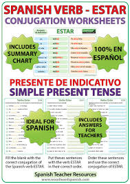 Blank Spanish Conjugation Charts With All Conjugations Estar Spanish Verb Conjugation Worksheets Present Tense