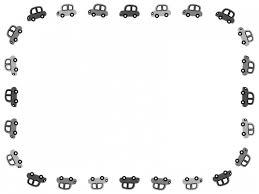 車の白黒囲みフレーム飾り枠イラスト 無料イラスト かわいいフリー素材