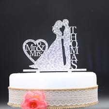 Personalized Wedding Cake Topper Acrylic Silver Gold Glittercustom