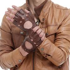 men fingerless black brown gloves winter spring leather gloves driving gloves sheepskin gloves