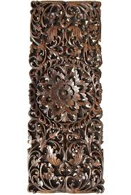 floral tropical carved wood wall panel asian wall art home decor large wood wall plaque dark brown finish 35 5 x13 5 extra thick on asian carved wood wall art with floral tropical carved wood wall panel asian wall art home decor